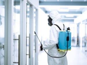 Coronavirus emergency decontamination worker
