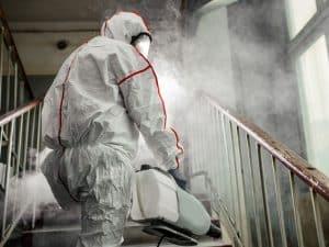 Coronavirus preventive disinfection service worker