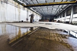flood damage in warehouse